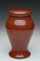 henna colored porcelain urn