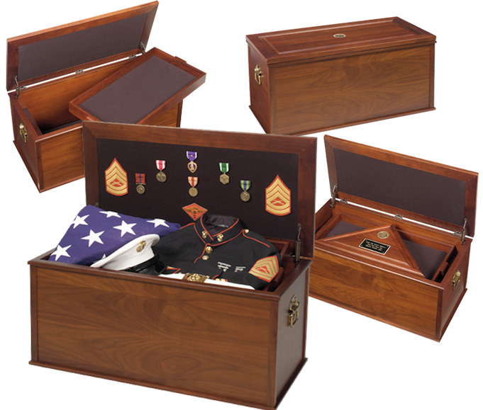 United States Military Memorial Heirloom Walnut Chest