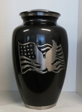 flag and Eagle brass cremation urn