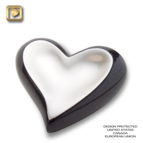 black and pewter small heart urn