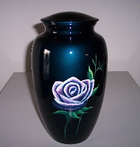 blue mother of pearl flower inlay on brass urn