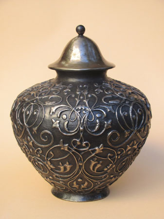 Bronze cremation urn black finish