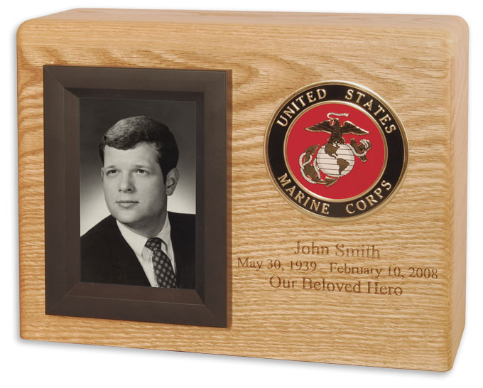 Military photo frame cremation urn