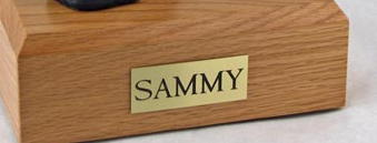 Oak wood pet urn box with name plate
