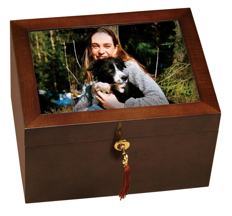 wood chest urn with picture frame lock box
