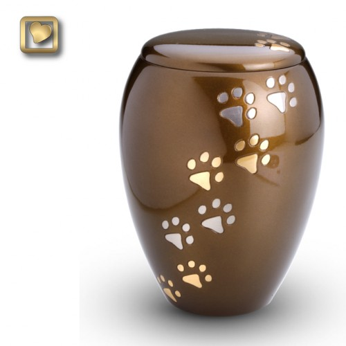 Two-toned paw prints Urn