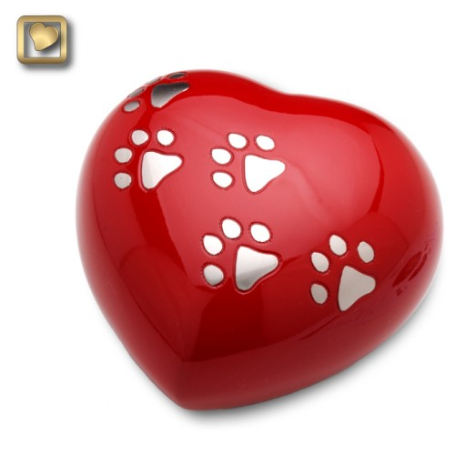 Red paw print Heart urn