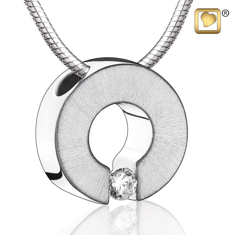 Sterling Silver Two Tone with Clear Crystal Cremation Pendant