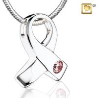 Awareness Rhodium Plated with Pink Crystal Cremation Jewelry Pendant