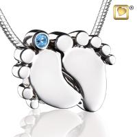 Baby Feet Rhodium Plated Cremation Pendant