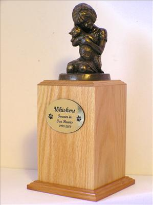 Oak Wood Always My Kitty Cat Urn. with bronze sculpture of a girl holding a kittin
