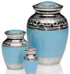 Blue enamel cremation urn