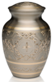 Platinum and Golden Brass cremation urn