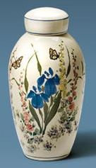 Off white urn with hand painted flowers