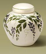 Wisteria design hand painted urn