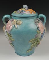 Unique blue sea shell porcelain urn urn