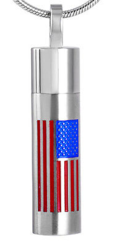 Cylinder cremation pendant with american flag