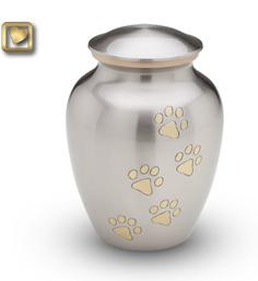 Classic Pewter Paw Print Pet Urn