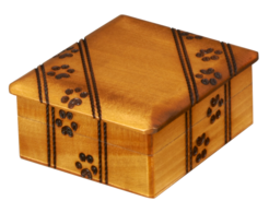 Honey colored wood paw print urn Cremation urns