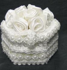 Hexagon shape wedding ring box with Roses and beads