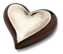 bronze and silver heartl cremation urn