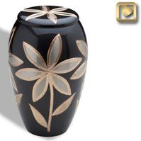 brass flower cremation urn