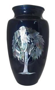 blue urn with tree of life