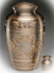 pewter and copper urn