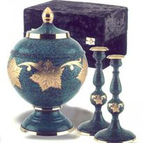 urn and candle set in teal with brass leaves