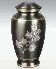 leaf design on pewter and brass cremation urn