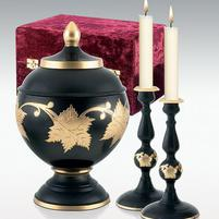 black with gold leaves brass urn and candle set