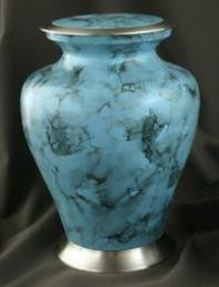 faux stone blue brass urn