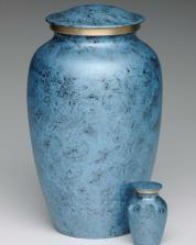 blue faux marble brass cremation urn