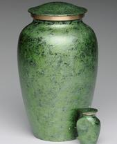green faux marble brass cremation urn