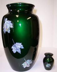 green mother of pearl and brass cremation urn