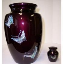 burgundy brass and mother of pearl butterfly cremation urn