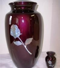Burgundy rose mother of pearl and brass urn