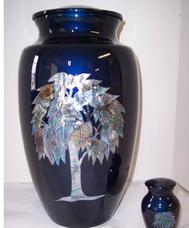 tree of life blue brass urn with mother of pearl inlay