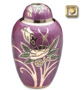 pink brass urn with gold flower design