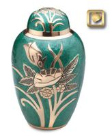 green brass urn withgold flower design