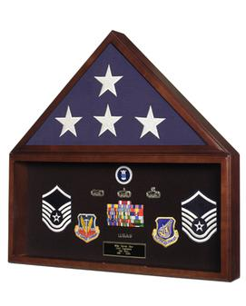 military medal and flag case