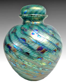 Green and blue hand blown glass urn
