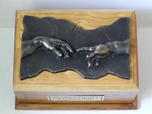 Cherry and Pewter Hand of God Cremation urn