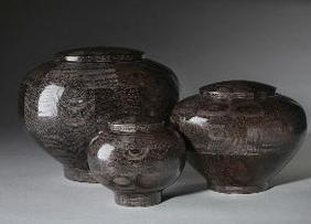 black dyed wood cremation urns