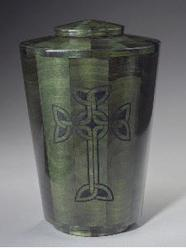 green dyed wood urn with celtic cross
