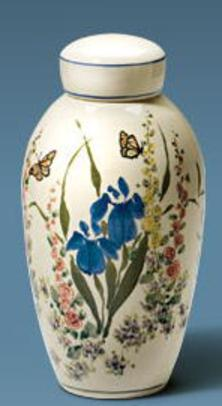 Hand painted flower garden on ceramic cremation urn