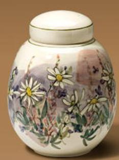hand painted daisies on handmade ceramic cremation urn