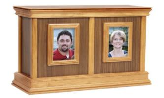 Contemporary wood picture frame companion urn