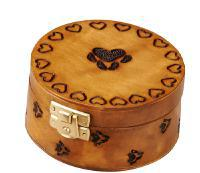 Paw print wood round box cremation  urn