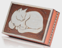 sleeping cat box cremation  urn